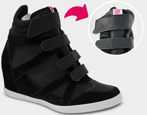 Linha Sneaker, modelo Velcro preto da Capricho